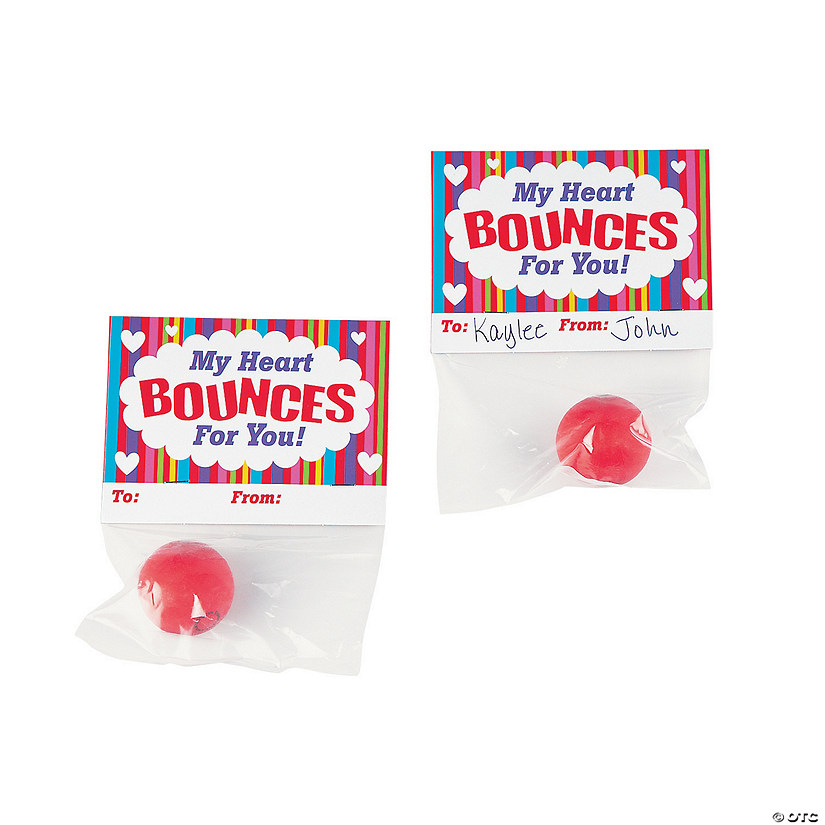 Valentine Bouncy Ball Exchange Cards