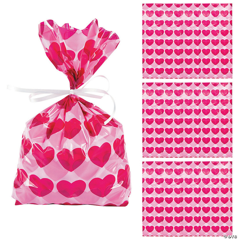 Valentine Heart Cellophane Bags