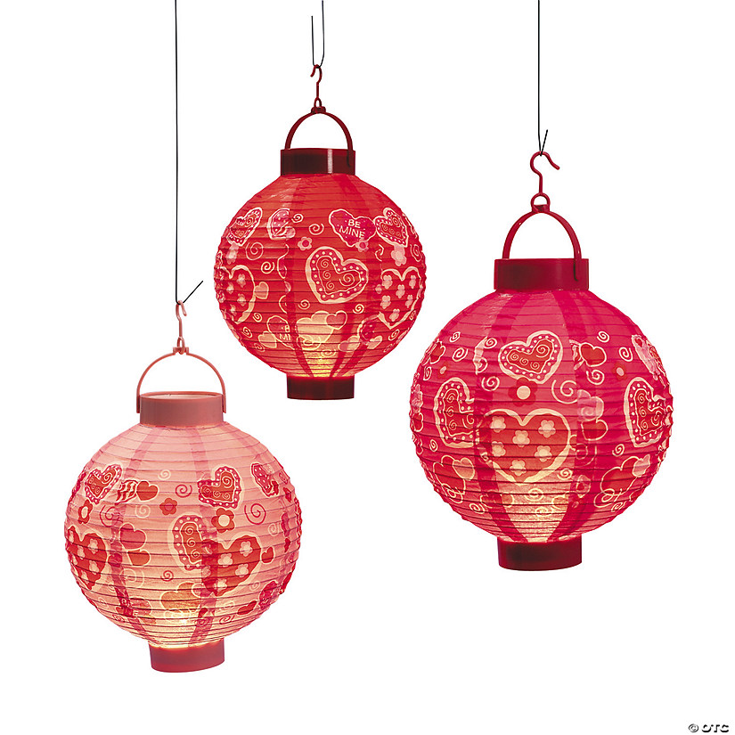 Valentine Hearts Light-Up Hanging Paper Lanterns