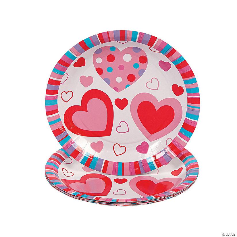 Valentine Hearts Paper Dessert Plates