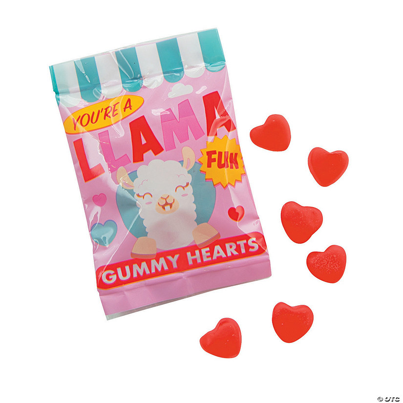 Valentine's Day Llama Gummy Candy Fun Packs