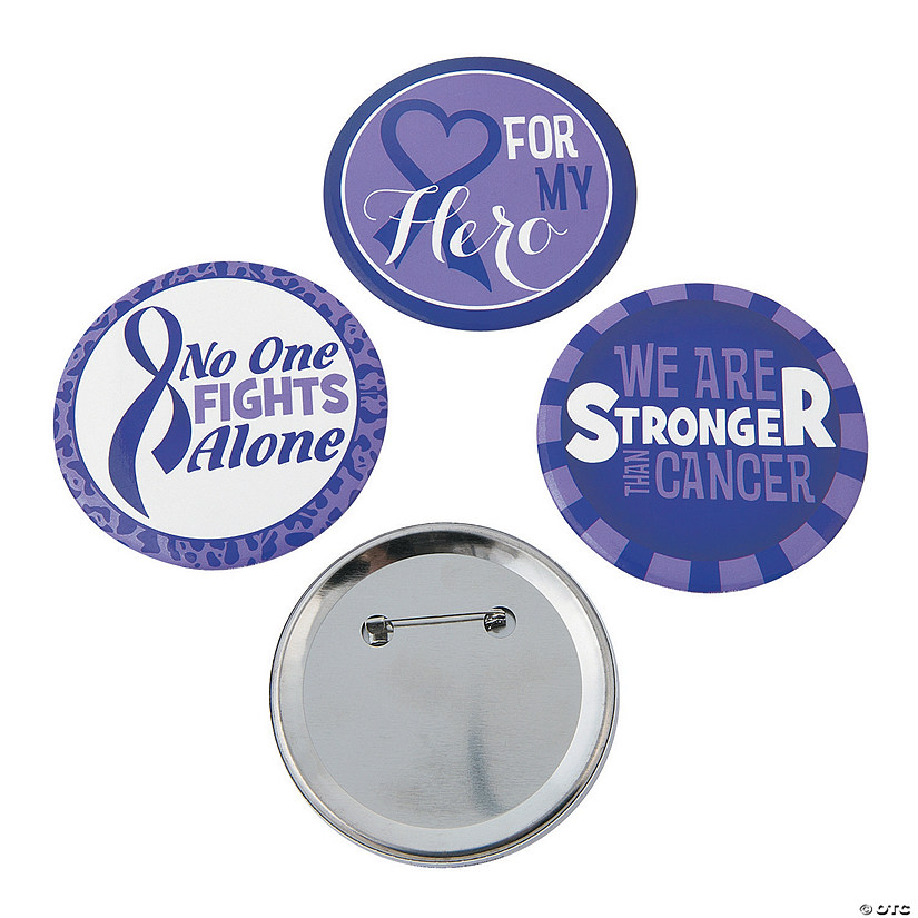 Walk All Night Purple Awareness Ribbon Buttons
