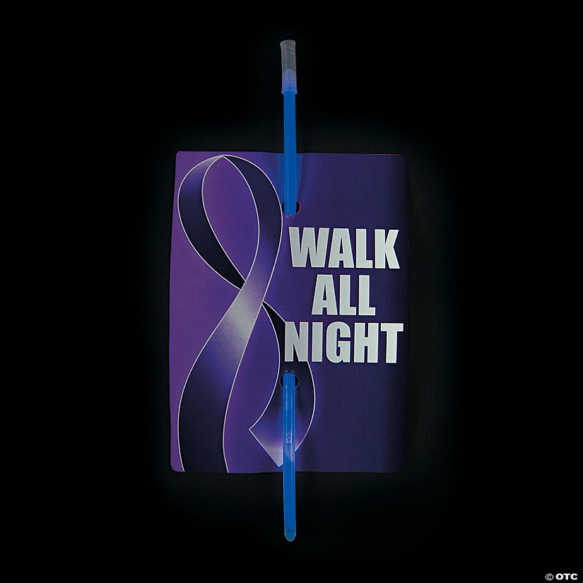 Walk All Night Purple Awareness Ribbon Cards with Glow Bracelets