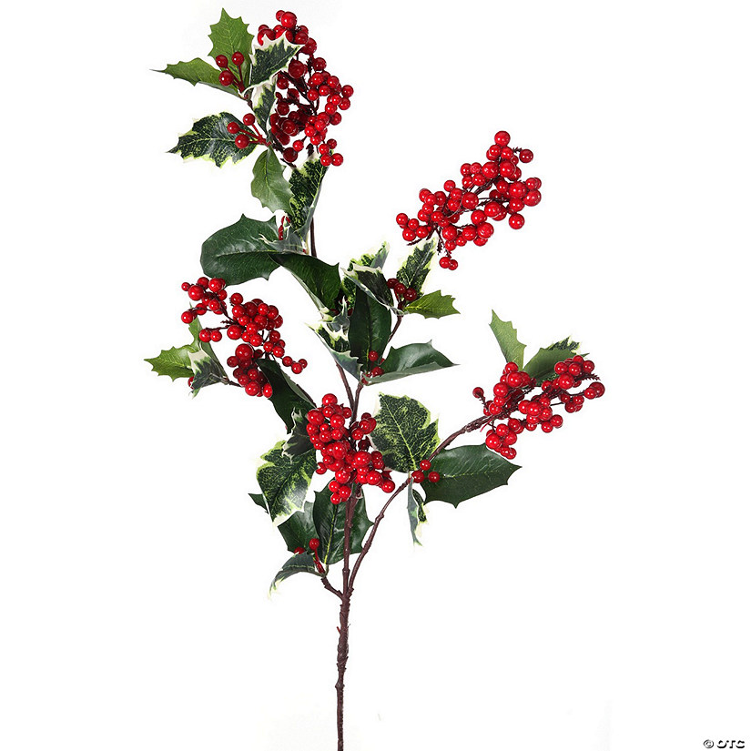 "Waterproof Holly & Berry Spray 32""-"