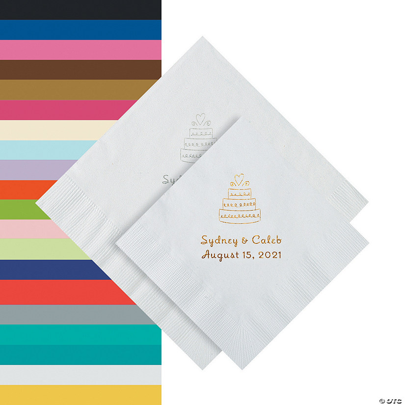 Wedding Cake Personalized Napkins - Beverage or Luncheon