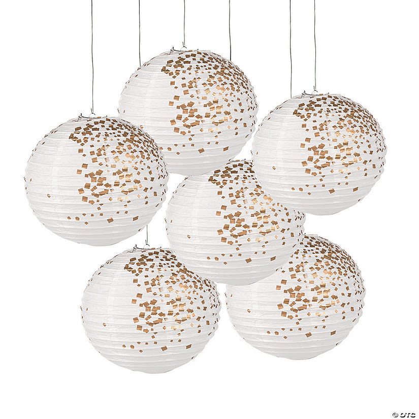 White & Gold Patterned Hanging Paper Lanterns