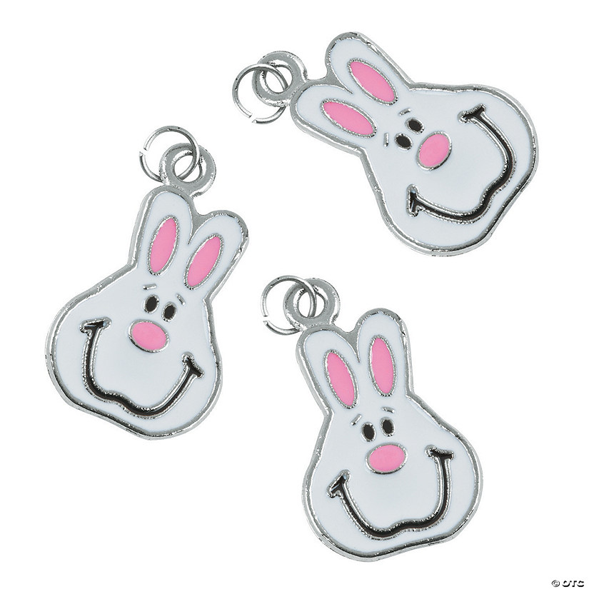 White Easter Bunny Enamel Charms