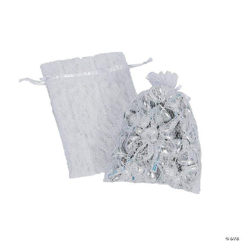 White Lace Drawstring Favor Bags