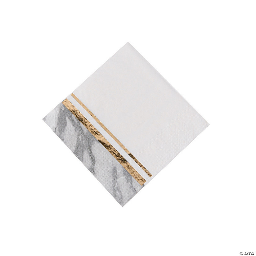 White Marble Beverage Napkins with Foil