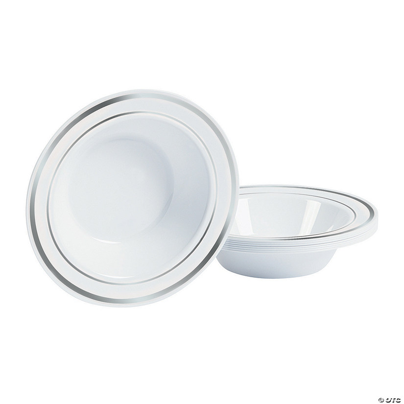 White Premium Plastic Bowls with Silver Trim
