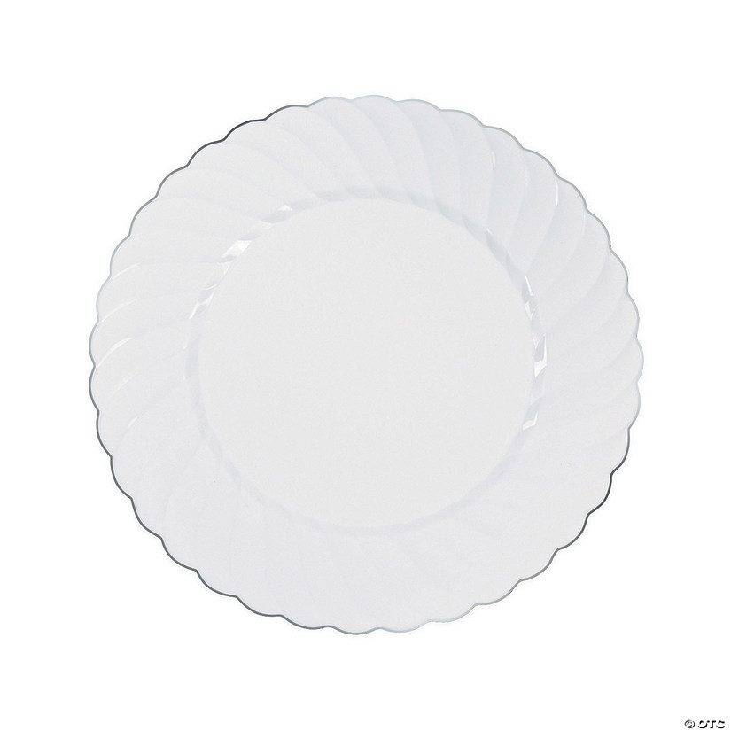 White Premium Plastic Dinner Plates with Silver-Trim