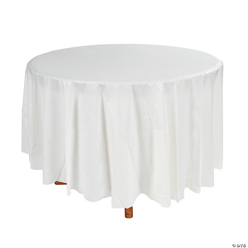 Superieur White Round Plastic Tablecloth