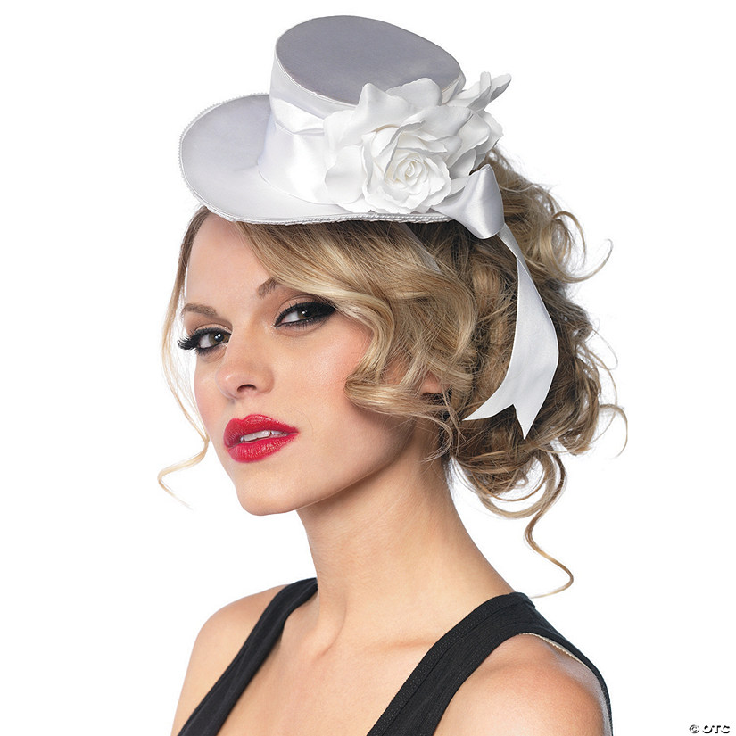 White Satin Top Hat Mini