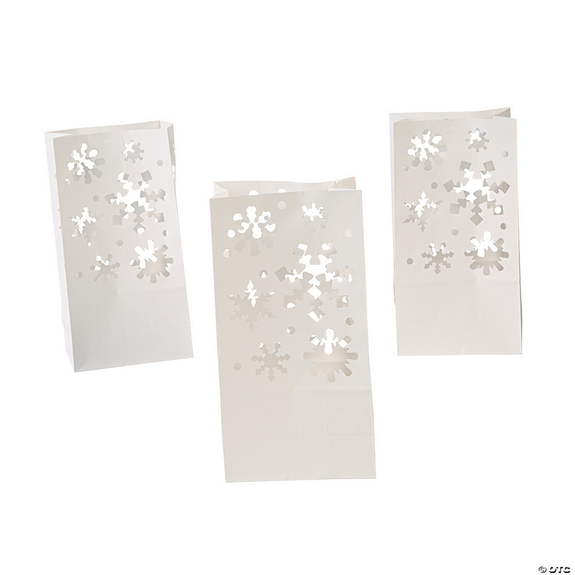 White Snowflake Luminary Bags