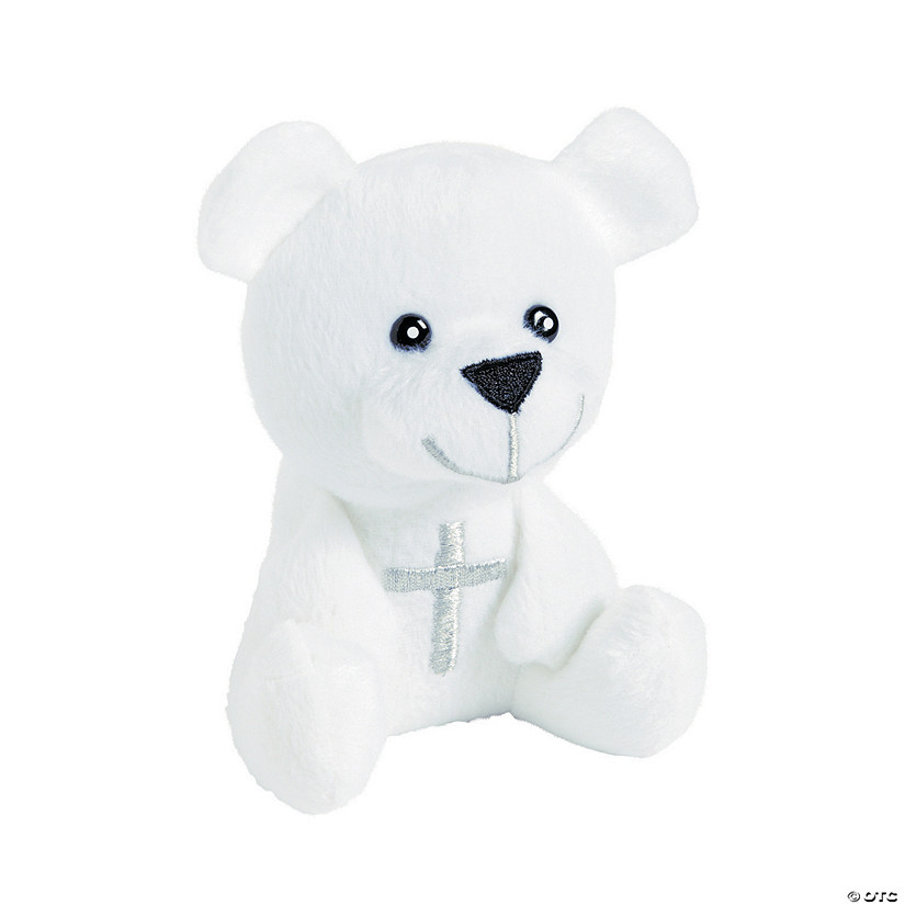 White Stuffed Bear with Cross
