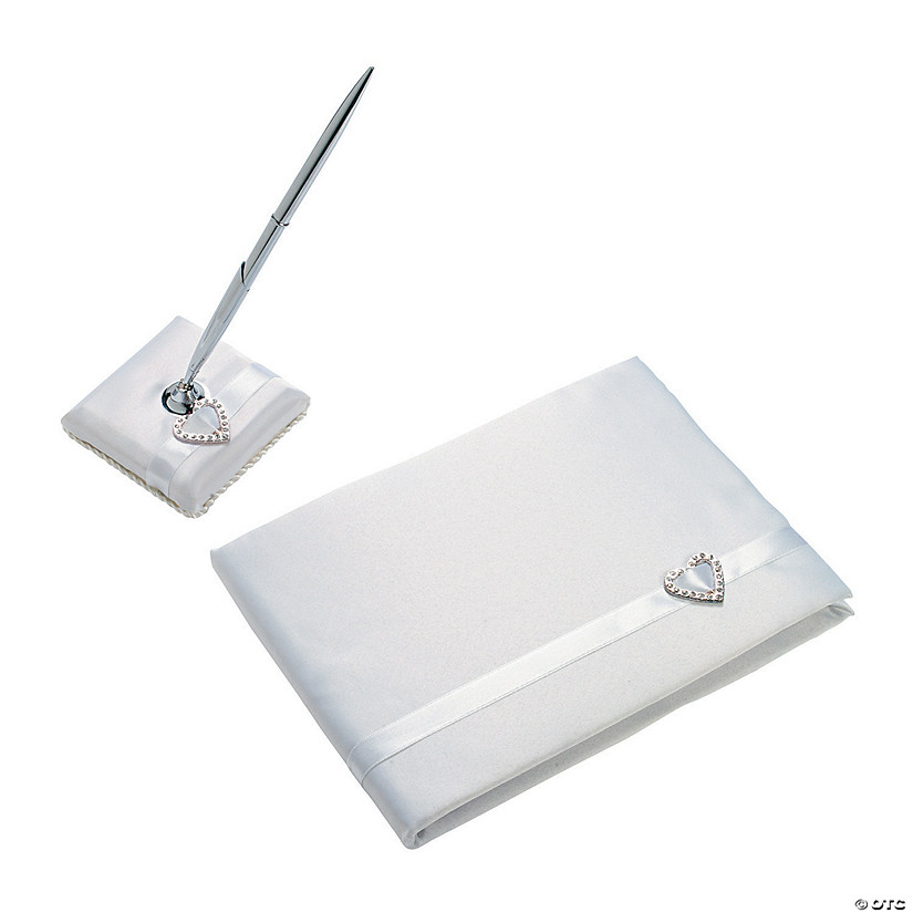 White Wedding Guest Book & Pen Set with Heart Buckle