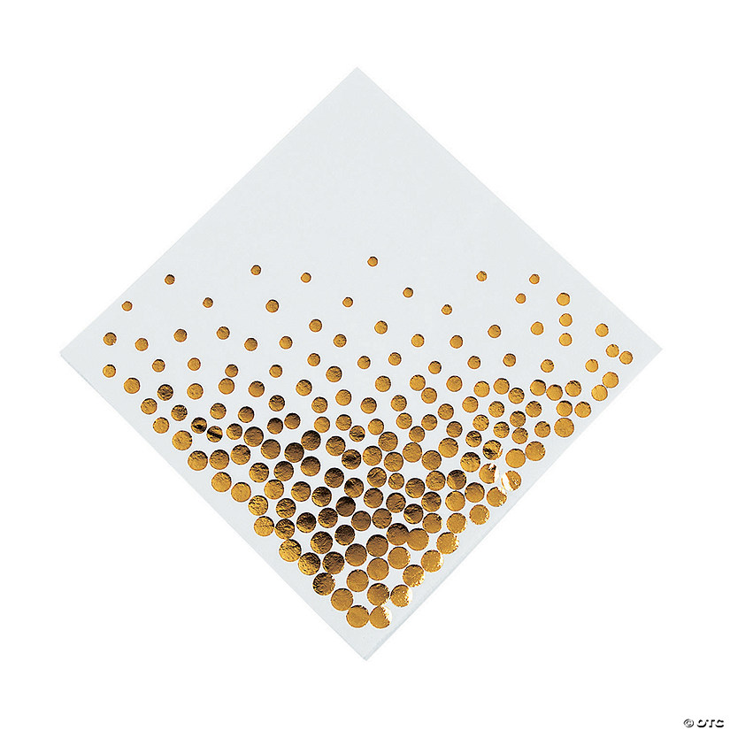 White with Gold Foil Dots Luncheon Napkins