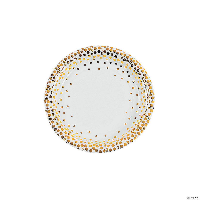 White with Gold Foil Dots Paper Dessert Plates