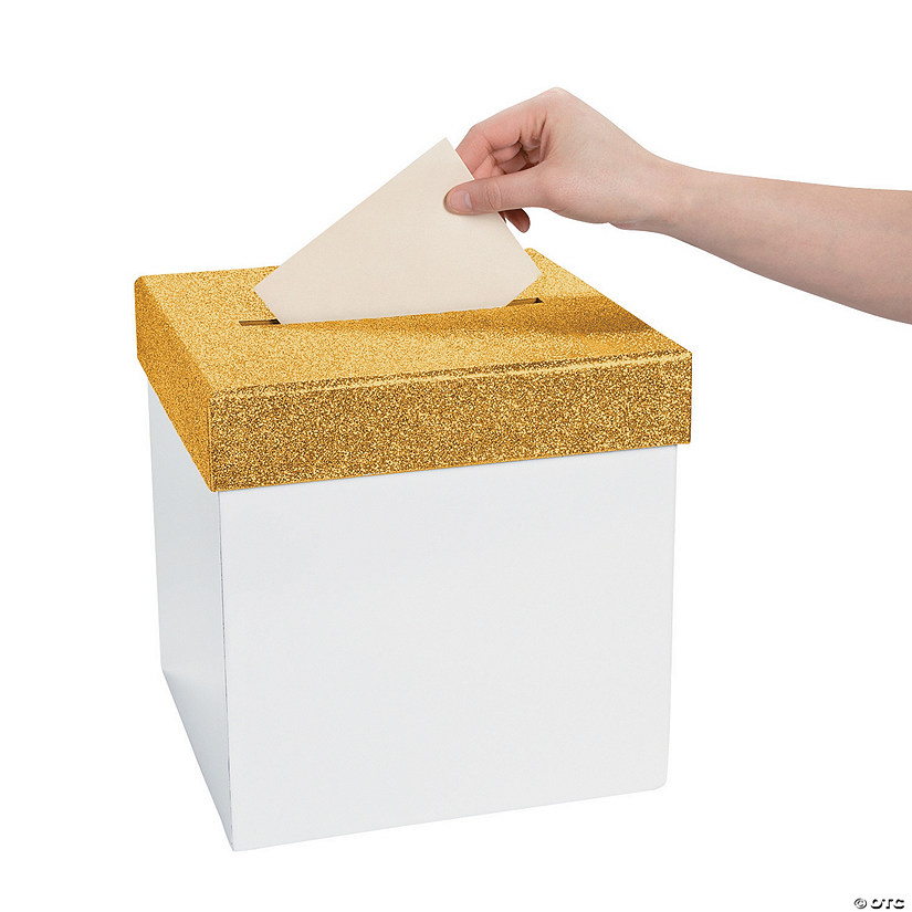 White with Gold Glitter Lid Card Box