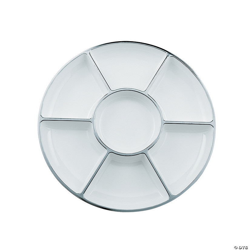 White with Silver Compartment Platter