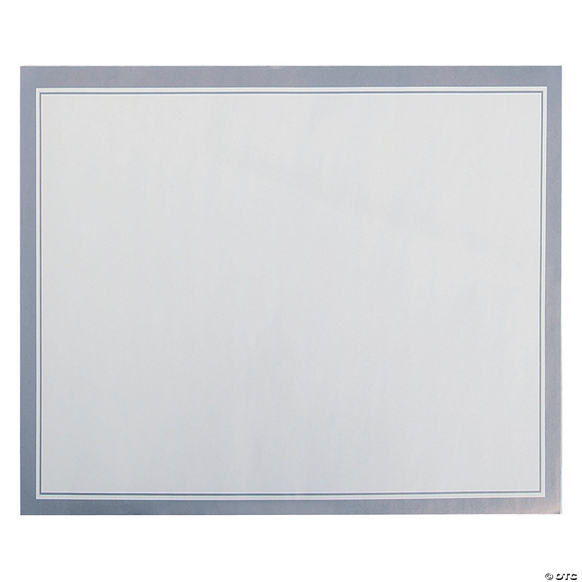White with Silver Trim Paper Placemats
