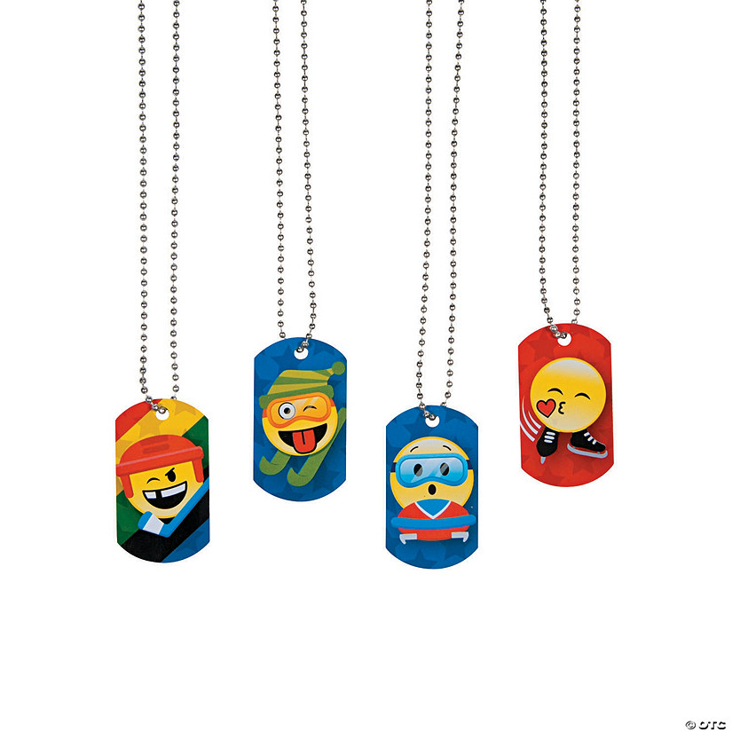 Winter International Games Emoji Dog Tag Necklaces