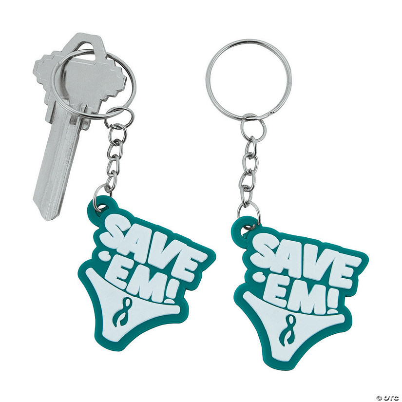 Women's Teal Awareness Ribbon Keychains
