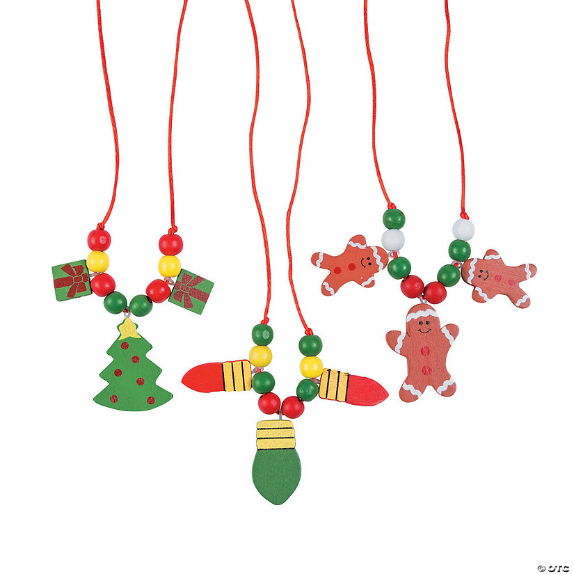 Wooden Beaded Holiday Necklace Craft Kit
