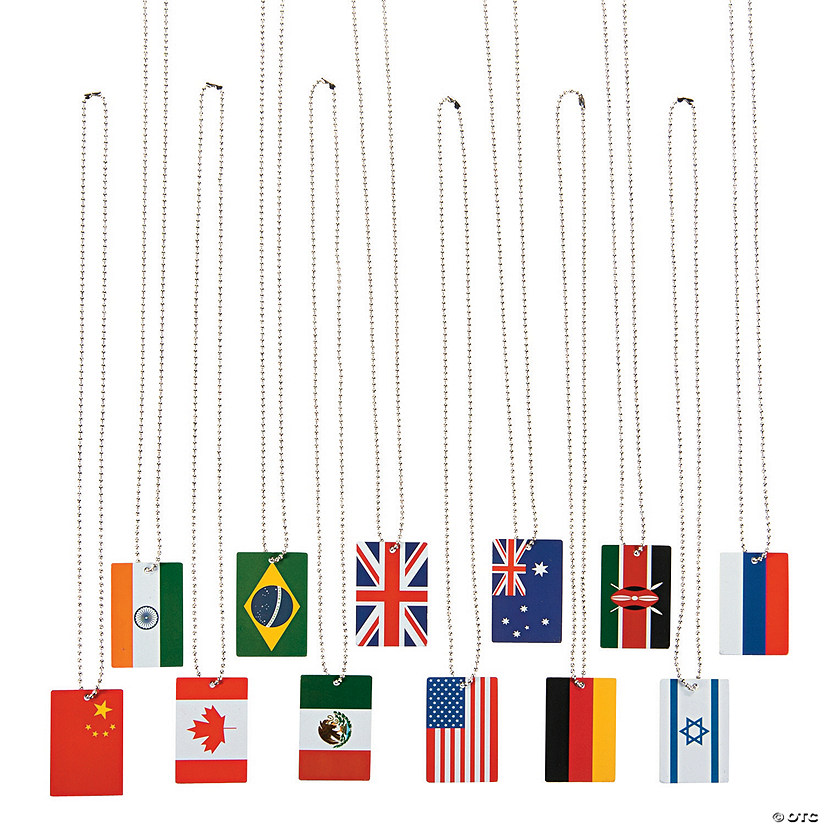 World Flag Dog Tag Necklaces