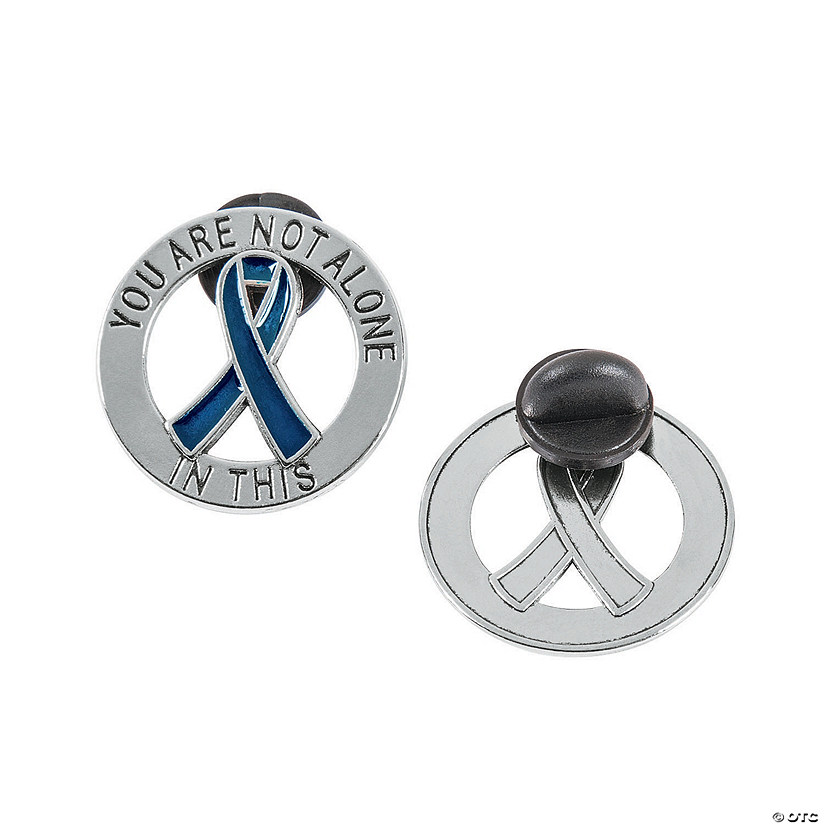 You Are Not Alone Blue Awareness Ribbon Pins