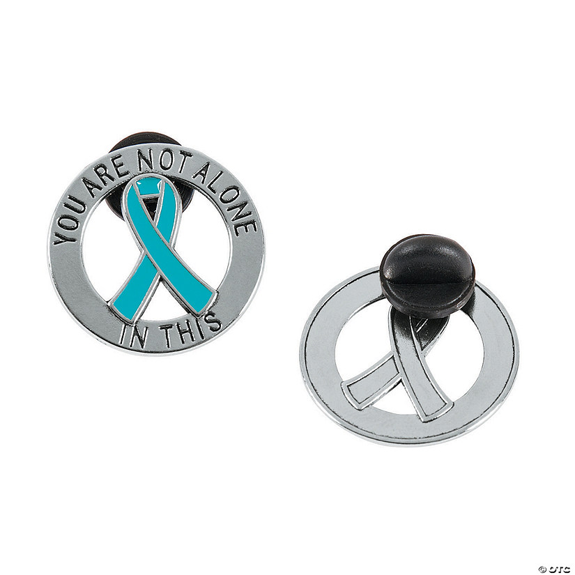 You Are Not Alone Teal Awareness Ribbon Pins