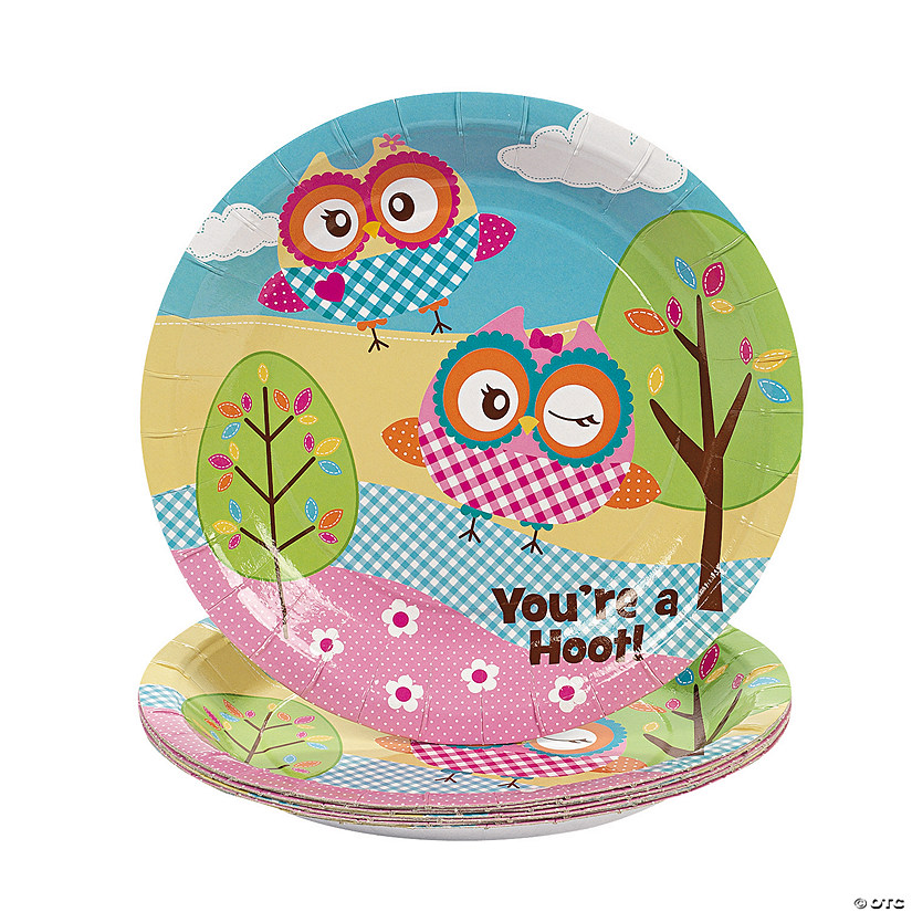 """You're A Hoot"" Paper Dessert Plates"