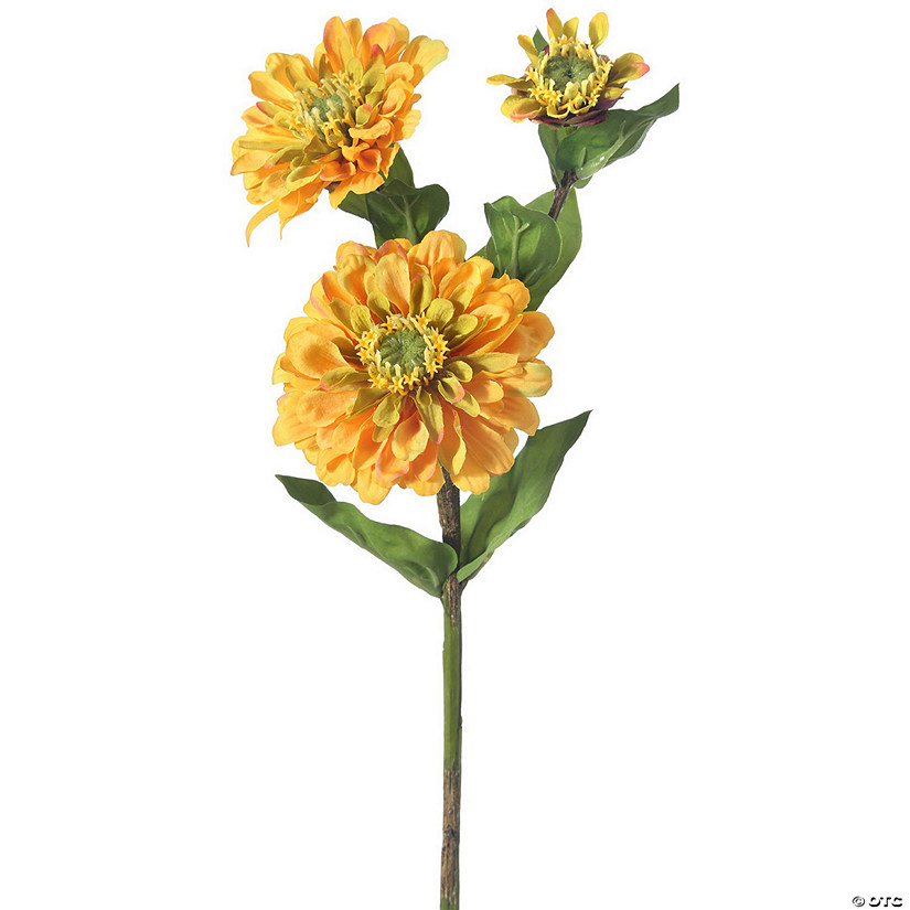 "Zinnia Spray X3 24""-Golden"