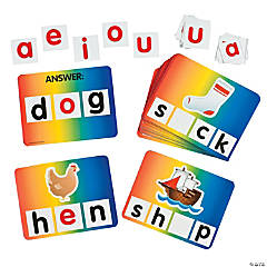100 Pc. Short Vowel Word Cards Set