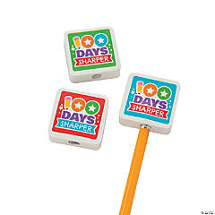100th Day Day of School Pencil Top Erasers
