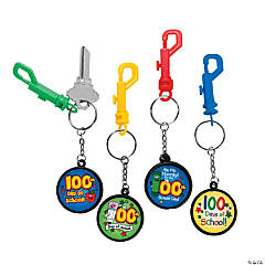 100th Day of School Backpack Clip Keychains