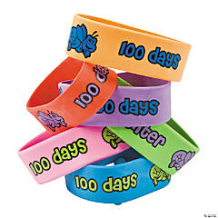 100th Day of School Big Band Rubber Bracelets