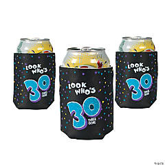 """12 """"Look Who's 30"""" Can Coolers"""