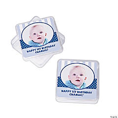 1st Birthday Blue Custom Photo Square Favor Containers