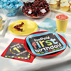 1st Birthday Boy Chalkboard Party Supplies