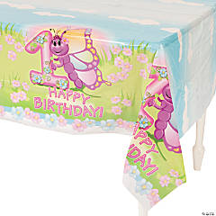1st Birthday Butterfly Plastic Tablecloth