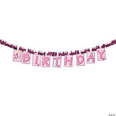"""1st Birthday"" Butterfly Tinsel Cardboard Jointed Banner"