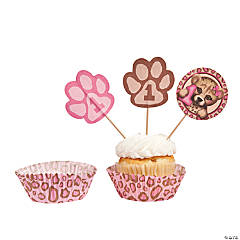 1st Birthday Cheetah Cupcake Liners with Picks