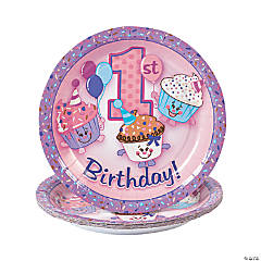 1st Birthday Cupcake Paper Dessert Plates