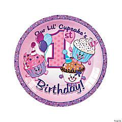 1st Birthday Cupcake Paper Dinner Plates