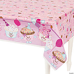 1st Birthday Cupcake Plastic Tablecloth