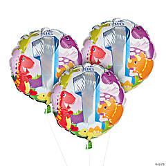1st Birthday Dinosaur Mylar Balloons