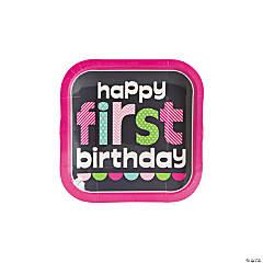 1st Birthday Girl Chalkboard Dessert Plates