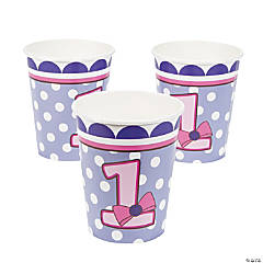 1st Birthday Miss Sock Monkey Paper Cups