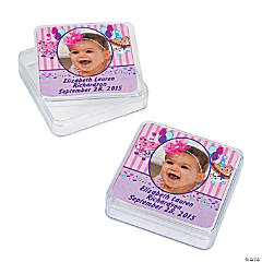 1st Birthday Personalized Cupcake Photo Square Favor Containers
